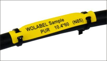 PUR電纜標識卡由熱塑性聚醚-聚氨酯組成,為無鹵材料,適合于熱轉移和激光打印。PUR材料拉伸強度高,耐撕裂性能尤其突出,在標識卡捆扎和長期使用過程中不會出現扎孔破裂情況。