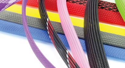 WPET—伸縮網管  伸縮網管采用環保PET絲精編織而成,具有良好的伸縮性,易于彎曲、可松可緊 ,并具有阻燃性、耐磨性及散熱性,產品表面光滑、色澤鮮艷、花樣繁多。產品主要功能是美化裝飾、隔離線束,廣泛應用于電腦電源線、音響視頻線、汽車、航空、電線電纜等領域。